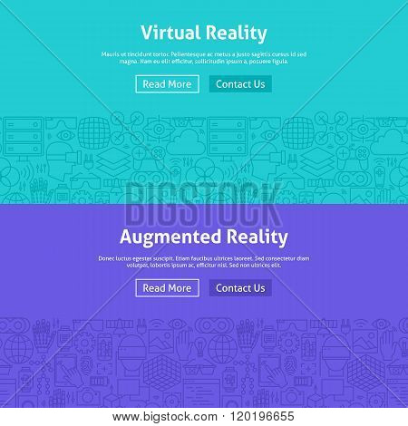 Virtual Reality Line Art Web Banners Set