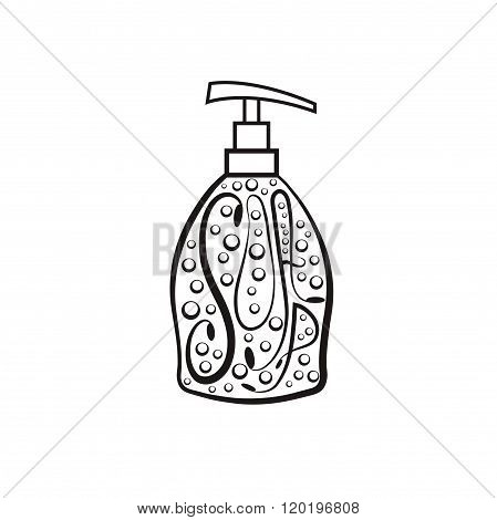 Soap Dispenser With Bubbles . Concept Of Graphic Clipart Work
