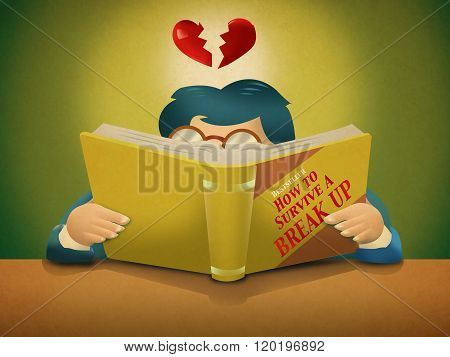 A person reads a book about How to Survive a Break Up. Editable Clip Art.