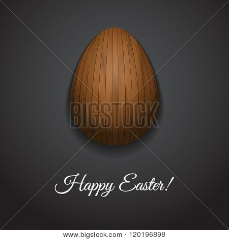 Happy Easter Greeting Card Design With Creative Wooden Easter Egg On Dark Background And Sign Happy