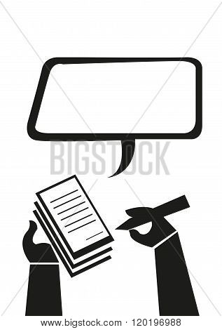 Hand Take Notes or Writes a Ticket Violation concept. Editable Clip Art.