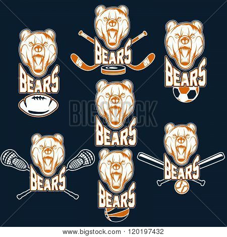 Set Of Bear Sports Labels . Concept Of Graphic Clipart Work