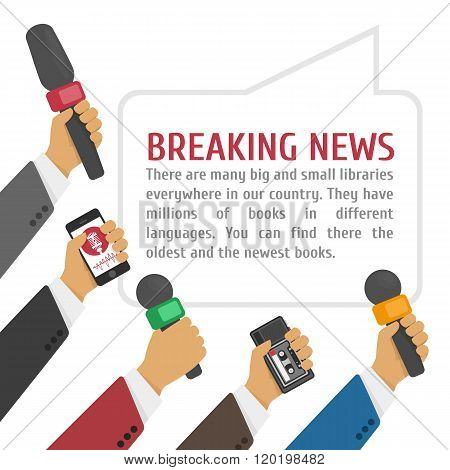 Vector illustration live report concept, live news, hands of journalists with microphones and tape recorders.