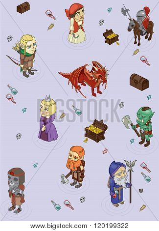 Children's Wallpaper With The Characters Of Computer Games