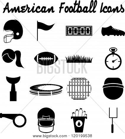 Flat Design Icons Of American Football . Concept Of Graphic Clipart Work