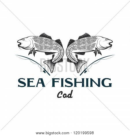 Vintage Illustration Sea Fishing With Cod Fish