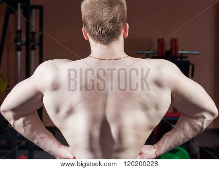 strong bodybuilder posing in gym on background of sports equipment