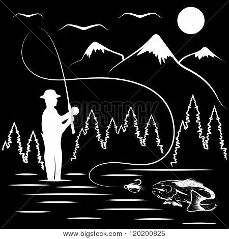 Vintage Illustration Of Fishing Theme . Concept Of Graphic Clipart Work