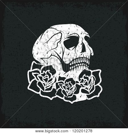 Day Of The Dead Skull With Flowers , Dia De Los Muertos