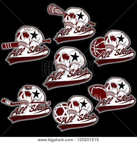 Set Of Vintage Sports All Star Crests With Skulls