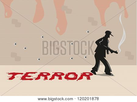 A Shooter with Terror Typography made of Blood Smears. Editable Clip Art.