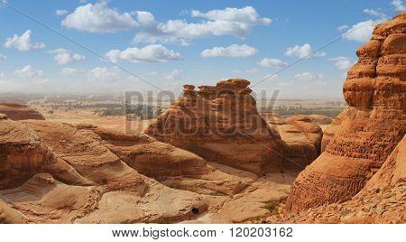 mountain landscape panoramic view - desert landscape of saudi arabia, madain saleh
