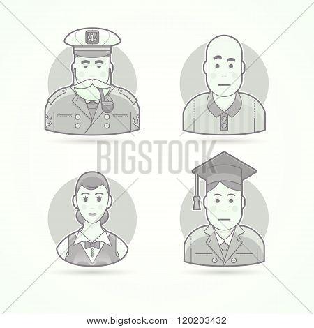 Sailor, sea dog, soccer referee, waitress, graduate man. Set of character, avatar and person vector