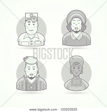 Eye doctor, rastaman, rock music fan, African woman. Set of character, avatar and person vector illu