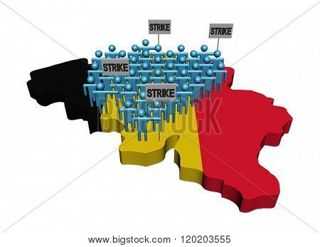 workers on strike on Belgium map flag illustration