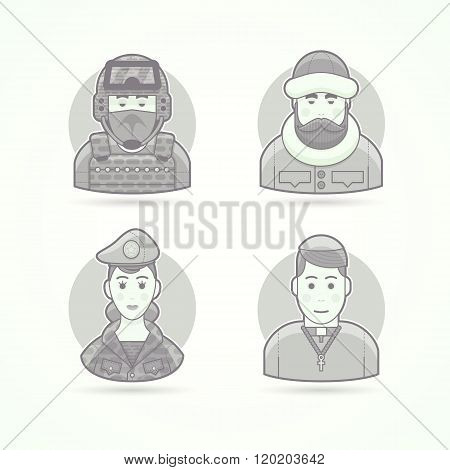 Special forces man, polar explorer, woman soldier, chursch priest. Set of character, avatar and pers