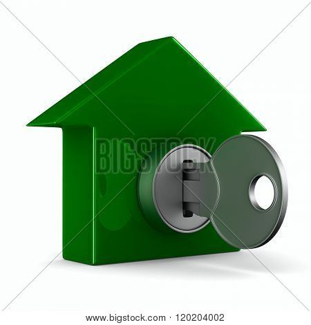 key and house on white background. 3D image