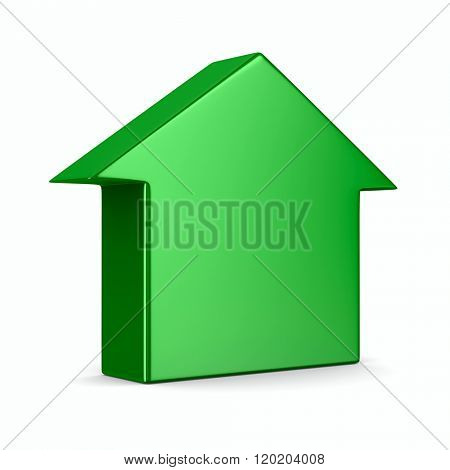 Green house on  white background. Isolated 3D image
