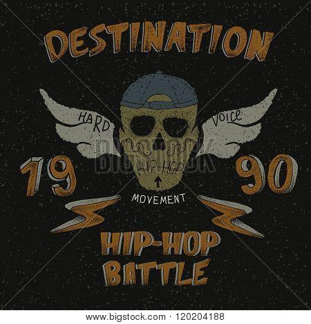 Vintage label with skull for hip-hop design