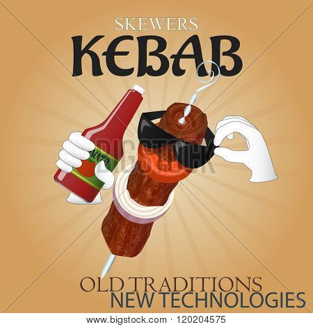 Delicious Skewers Kebab New Technologies Poster Ad