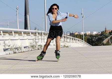 Woman Skater Speeding With A Skirt