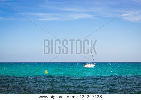 Sailboats Floating In Sea On Horizon, Av De Los Marineros, Torrevieja, Spain