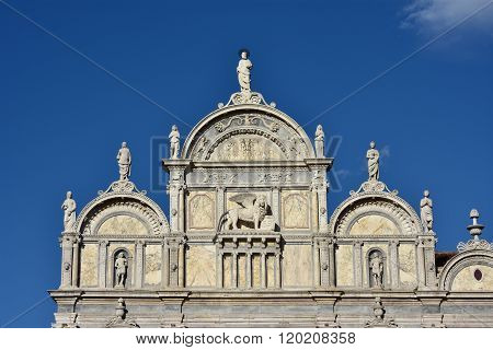 Scuola Grande Di San Marco Beautiful Renaissance Facade With Venice Winged Lion