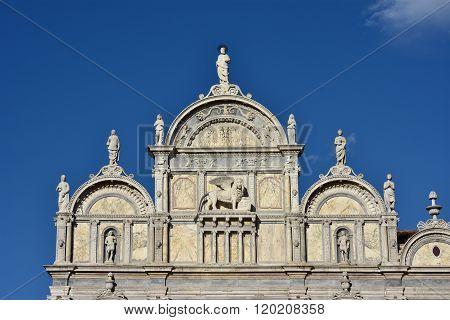 Scuola Grande Di San Marco Beautiful Renaissance Facade With Venice Winged Lion