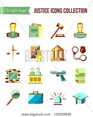 Prisoner at the bar. Set of law and justice flat icons with lawyer, jail court jury.