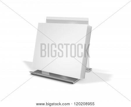 Square Brochure, Booklet Standing On Advertising Holder.