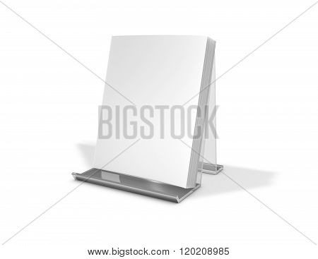 Brochure, Magazine, Catalog With Blank Cover Standing On Advertising Stand.