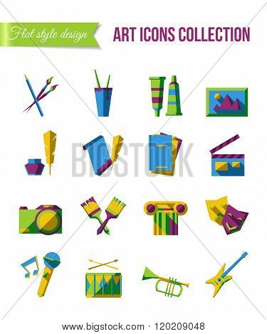 Holiday icons. Set of art, theater and music flat icons with scene, painting and writing symbols.