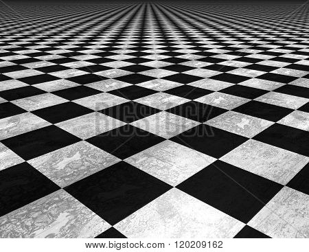 Chess board floor checkered black and white texture background.
