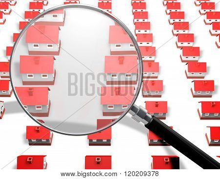 Red small houses and magnifier searching house concept illustration.