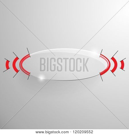 Vector glossy ellipse banner with red line.