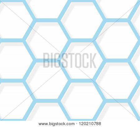 Seamless Pattern - White And Blue Hexagonal Texture