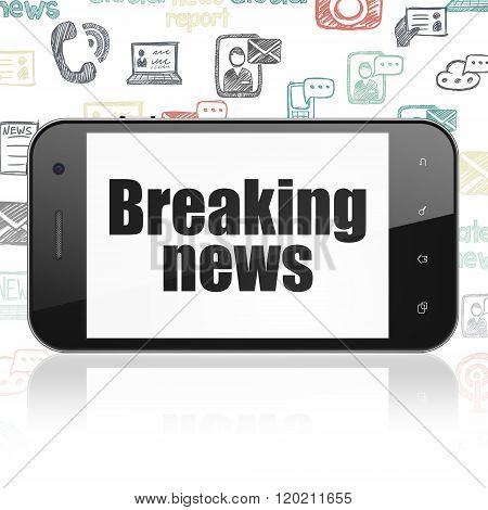 News concept: Smartphone with Breaking News on display