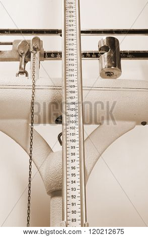 Long Measuring Rod For Measuring The Height In An Old Scale At A Medical Clinic