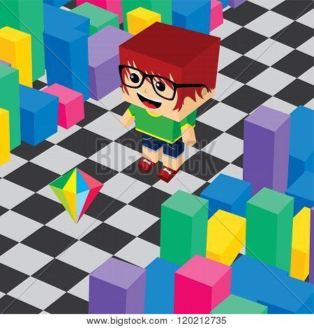 Geek Boy Invasion Video Game Asset Isometric