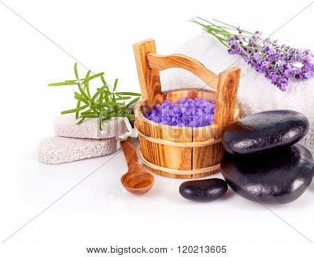 Spa still life with lavender and black stone isolated on white background