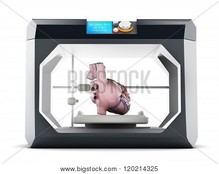 3D printer with a heart model isolated on white background