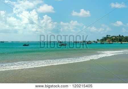 Beautiful Tropical Beach , Turquoise Ocean Water And Blue Sky.
