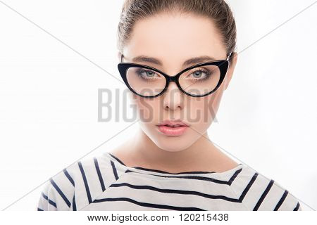 Close Up Portrait Of Attractive Smart Woman In Glasses And Striped T-shirt