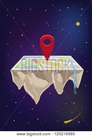 Locator Icon on Floating Map in Space. Editable Clip Art.