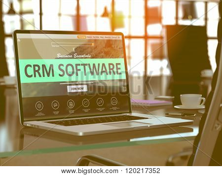 CRM Software Concept on Laptop Screen.
