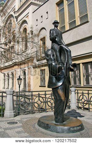 Prague, Czech Republic - April 25, 2010: Franz Kafka Sculpture By Spanish Synagogue In Prague, Czech