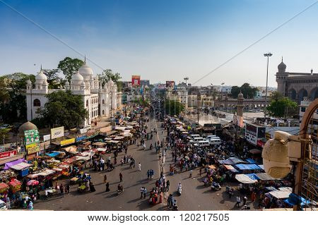 Markets surrounding the Charminar hyderabad