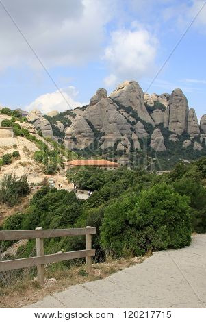 Montserrat, Spain - August 28, 2012: Hiking Paths In The Mountains Near Benedictine Abbey Santa Mari