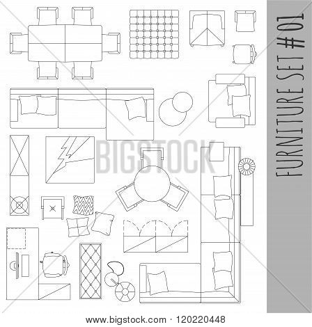 Standard Furniture Symbols Used In Architecture.