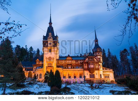 Famous architecture of Peles palace in Sinaia, Romania